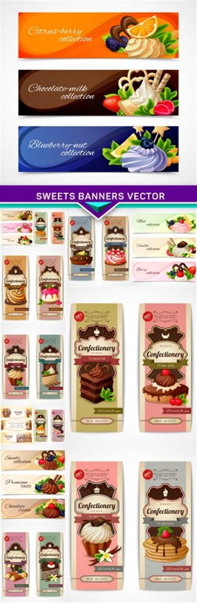 Sweets banners vector 13x EPS