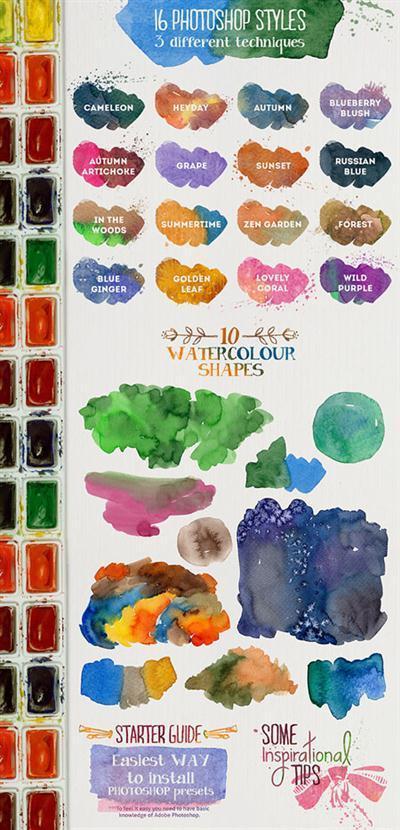 Aquarelle Designers Kit Mini - 16 Watercolor Photoshop Layer Styles