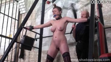 Slave tayolor hearts bound and gagged whipping with blonde 7