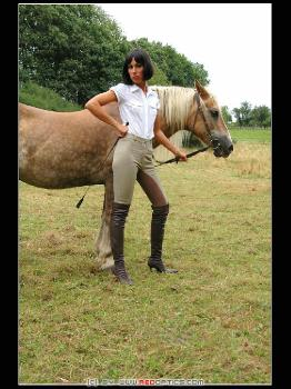 Horseback Riding In Brown Overknee Stiletto Boots RedOptics.com