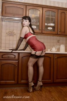 Red fetish in the kitchen