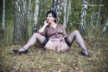 A forest nymph in nylon stockings