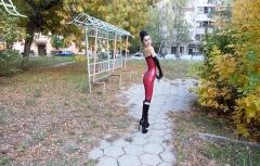 Wearing Latex Dress and Gloves in Public
